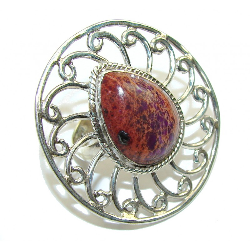 Large! Purple Sea Sediment Jasper Sterling Silver Ring s. 7 1/2
