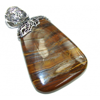 Natural Beauty! AAA Iron Brown Tigers Eye Sterling Silver Pendant