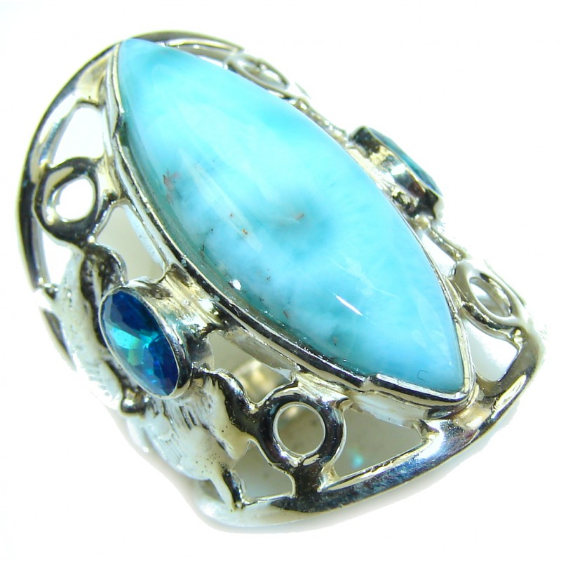 Tropical Glow! AAA Blue Larimar & London Blue Topaz Sterling Silver Ring s. 6 1/4
