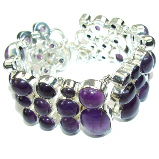 Real Treasure! AAA Purple Amethyst Sterling Silver Bracelet