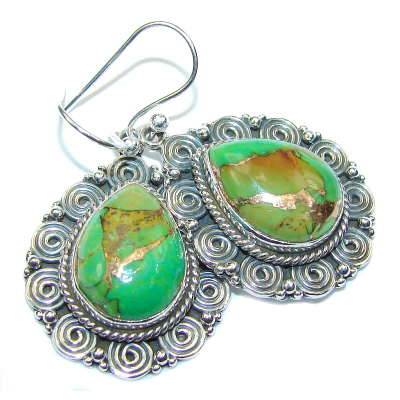 Lovely Design! Green Copper Turquoise Sterling Silver earrings