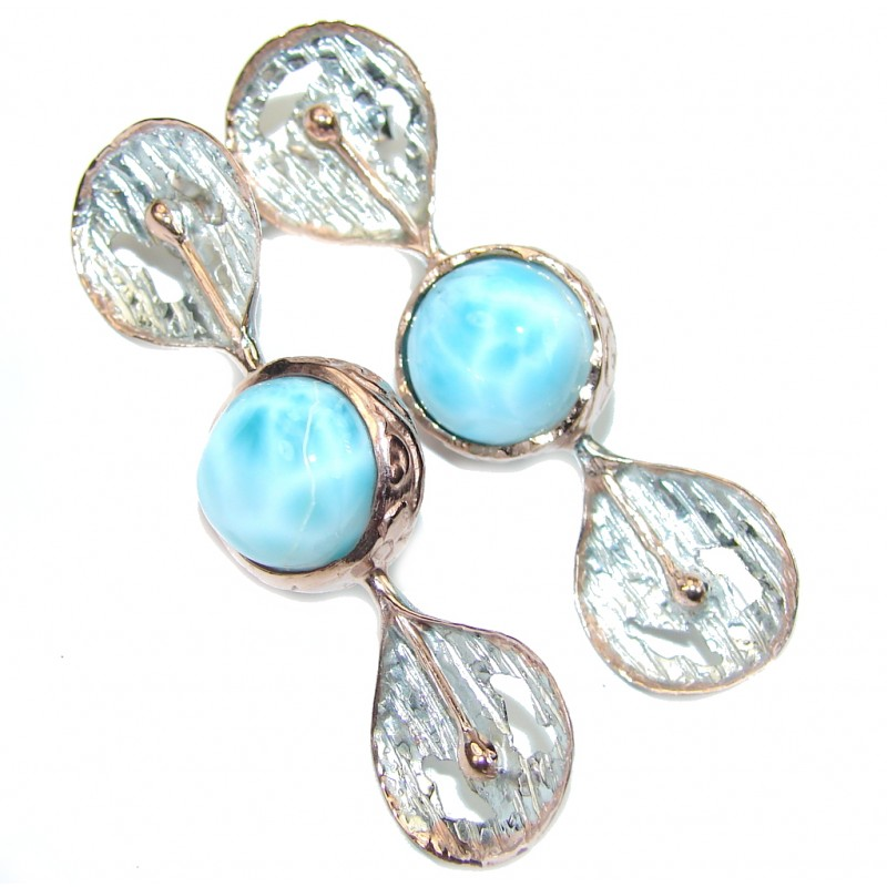 Just Perfect! AAA Blue Larimar, Two Tones Sterling Silver earrings