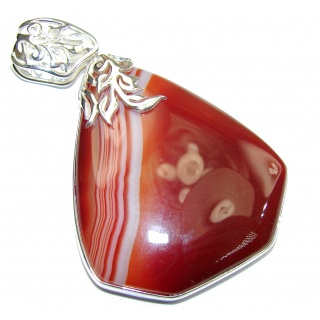 Big! Pale Beauty! Brown Botswana Agate Sterling Silver Pendant