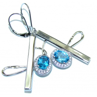 Caribbean Water! AAA Swiss Blue Topaz & White Topaz Sterling Silver earrings