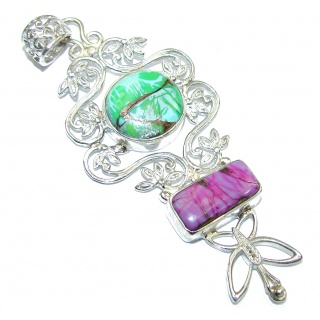 Excellent Green & Purple Turquoise Sterling Silver Pendant