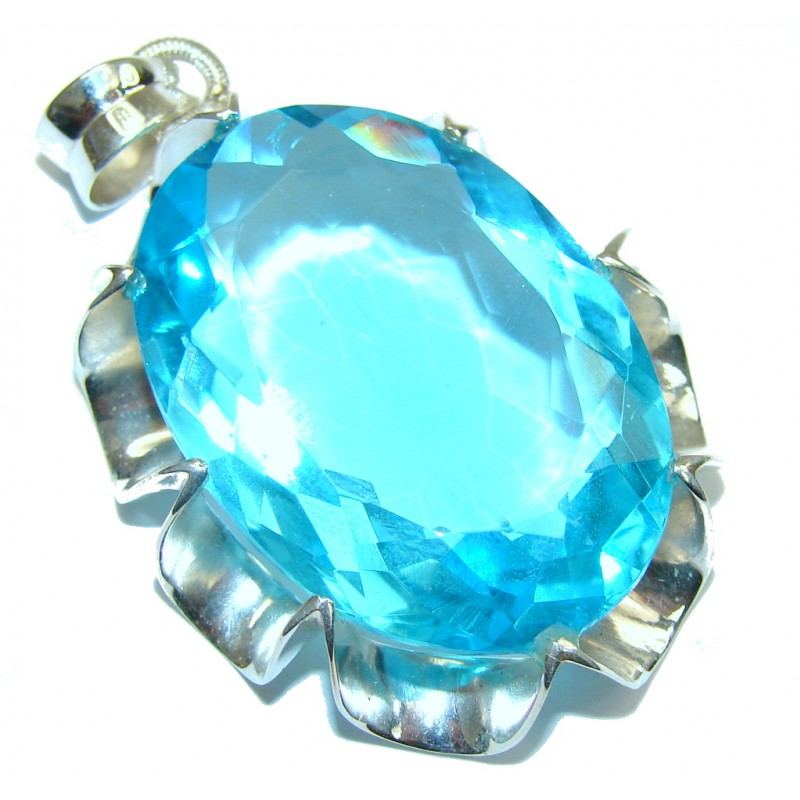 Caribbean Sea! Created Blue Topaz Sterling Silver Pendant