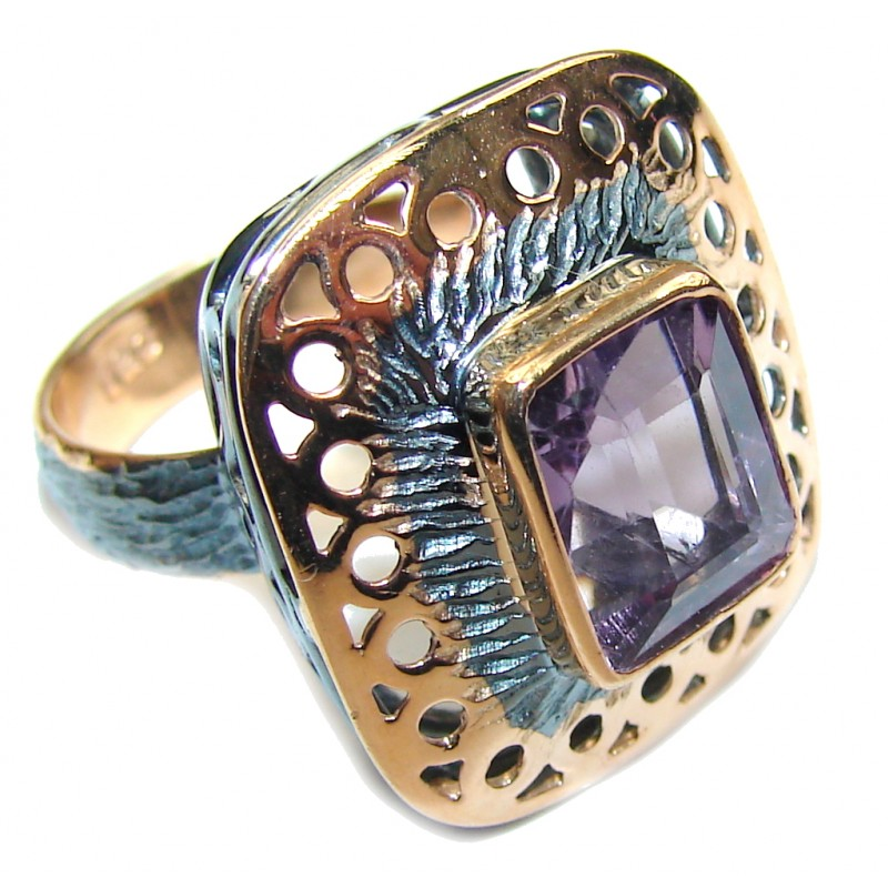 Amazing AAA Purple Amethyst, Rose Gold Plated, Rhodium Plated Sterling Silver ring s. 7