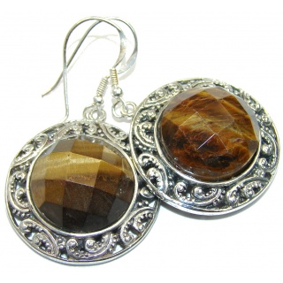 Bali Secret! Brown Tigers Eye Sterling Silver Earrings