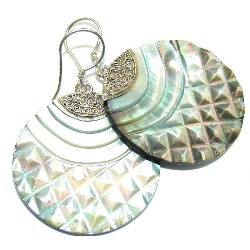 Bottom Of The Ocean! Rainbow Abalone Sterling Silver earrings