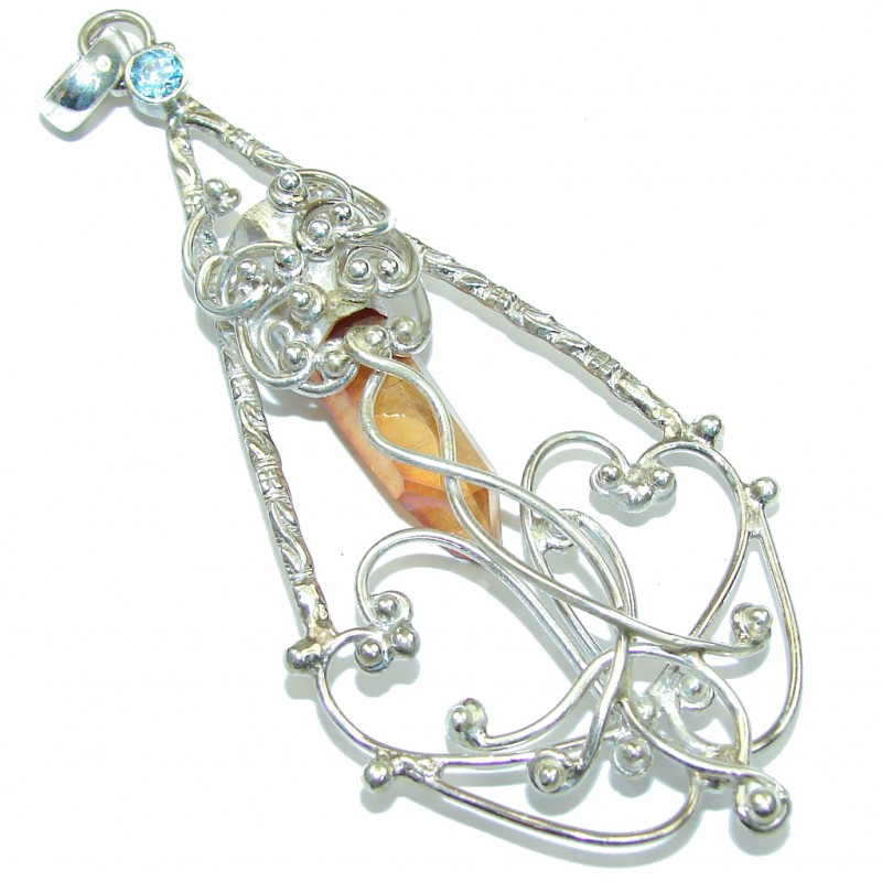 Large! Fashion Golden Crystal Sterling Silver Pendant