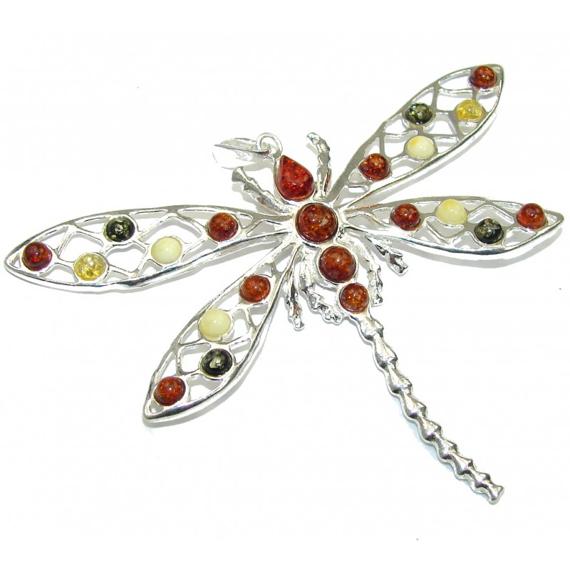 Large! Multicolor Baltic Polish Amber Sterling Silver Pendant