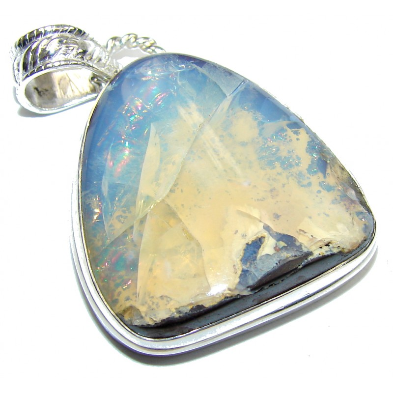 Natural AAA Australian Boulder Opal Sterling Silver Pendant
