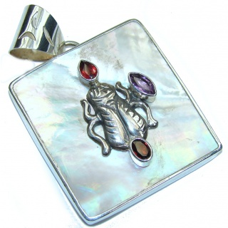 Fashion Style! Blister Pearl & Amethyst & Garnet Sterling Silver pendant