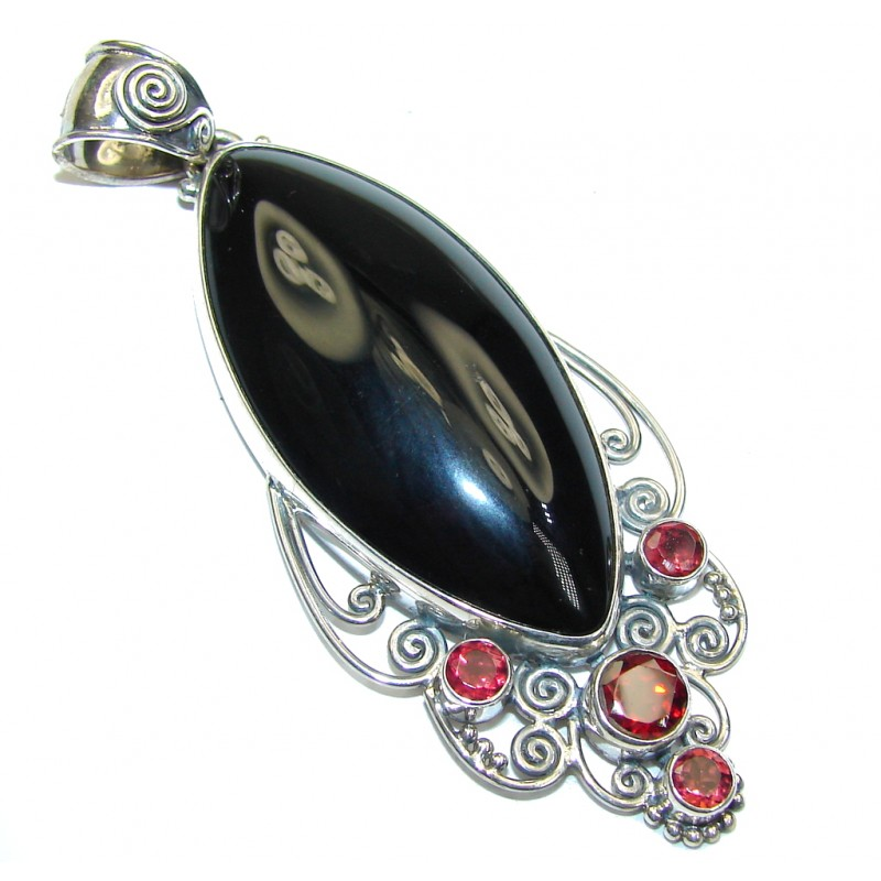 Just Perfect! Black Onyx & Garnet Sterling Silver pendant