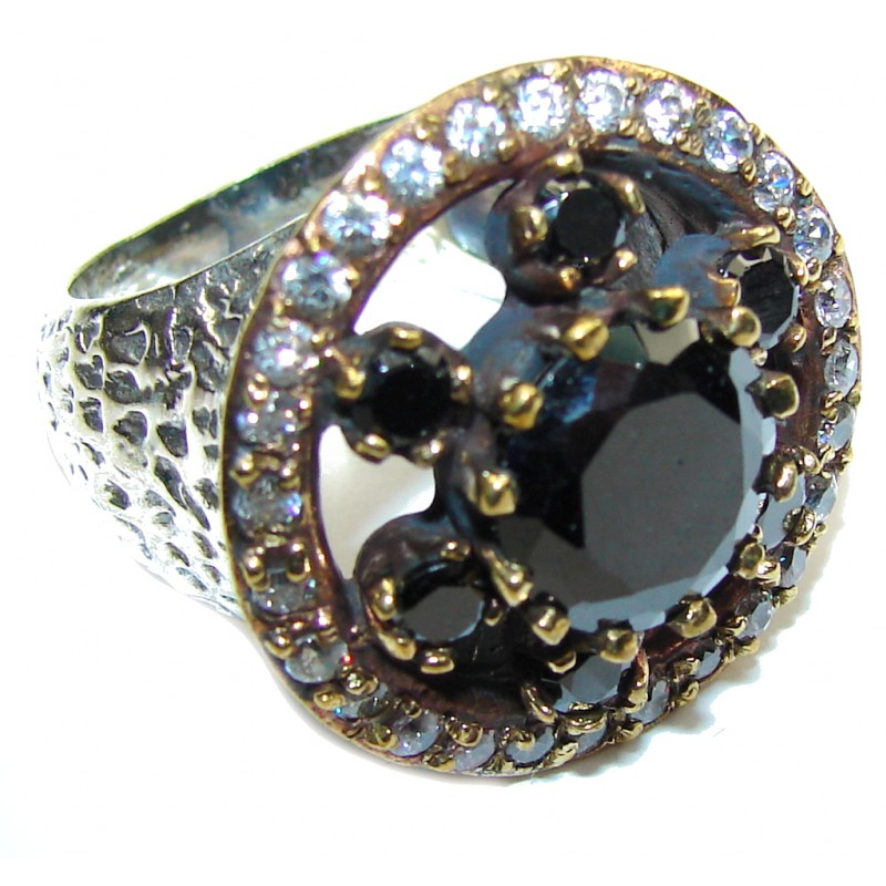 Victorian Style! Black Spinel & White Topaz Sterling Silver ring; 6 1/2