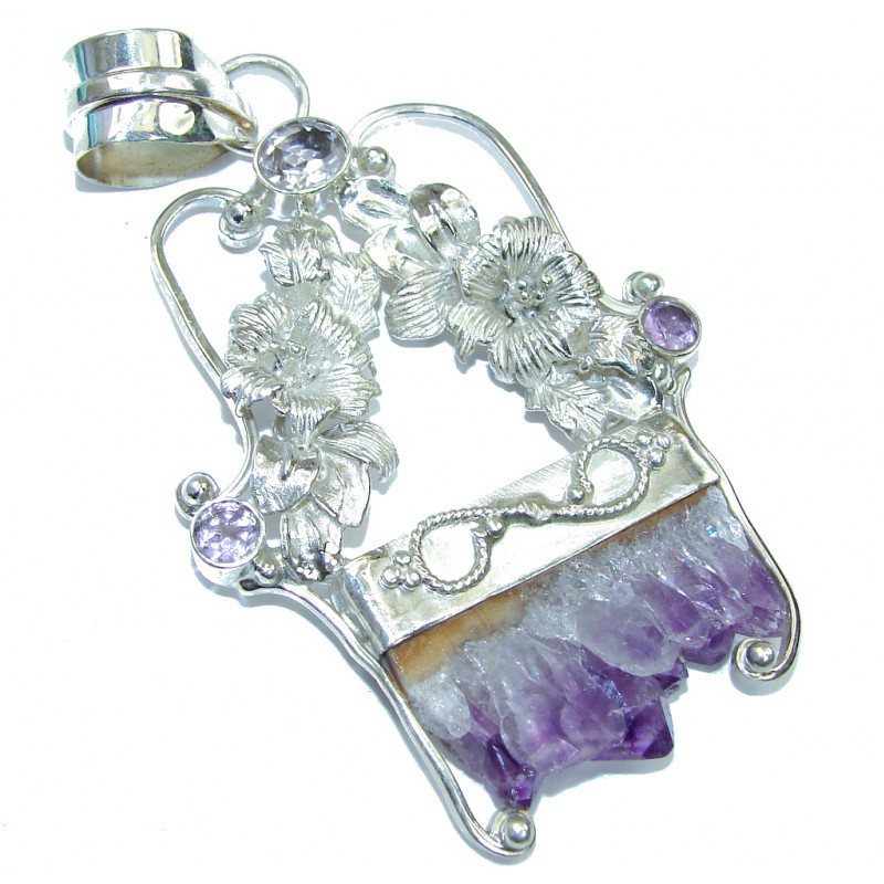 Big! Bali Secret! Purple Amethyst Cluster & Amethyst Sterling Silver Pendant