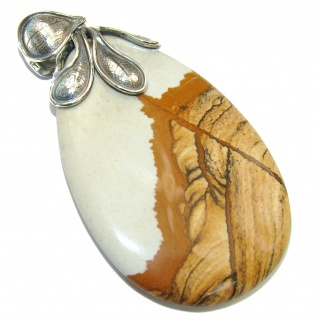 Big! Beautiful AAA Picture Jasper Sterling Silver Pendant