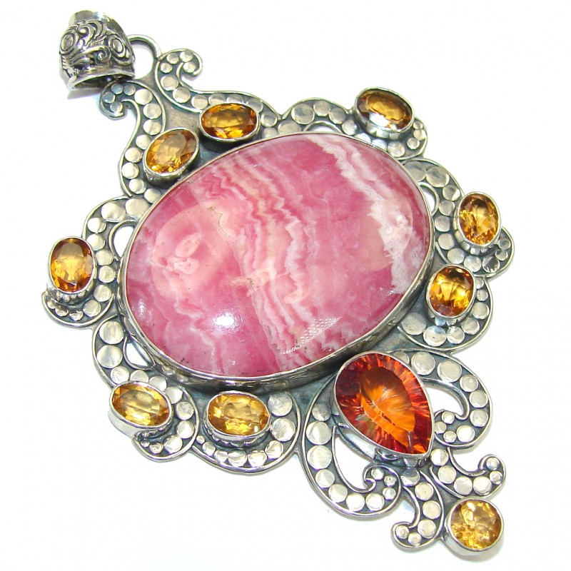Large! Bali Style! Pink Rhodochrosite & Orange Magic Topaz Sterling Silver Pendant