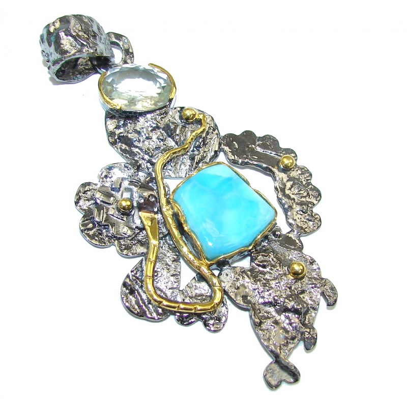 Large! Caribbean Sunset AAA Blue Larimar, Gold Plated, Rhodium Plated Sterling Silver handcrafted Pendant