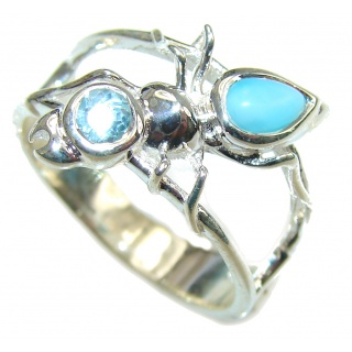 Delicate! Light Blue Larimar & Swiss Blue Topaz Sterling Silver Ring s. 8