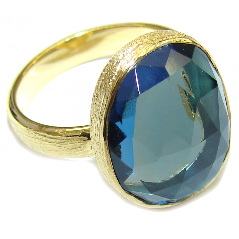 Fantastic Blue Quartz 18K Gold Plated Sterling Silver Ring s. 7