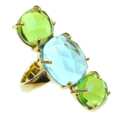Amazing Green Quartz & Blue Quartz 18K Gold Plated Sterling Silver Ring s. 8
