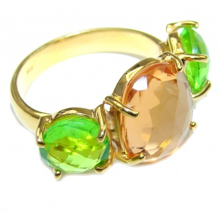 Delicate Golden Quartz & Green Quartz 18K Gold Plated Sterling Silver Ring s. 8