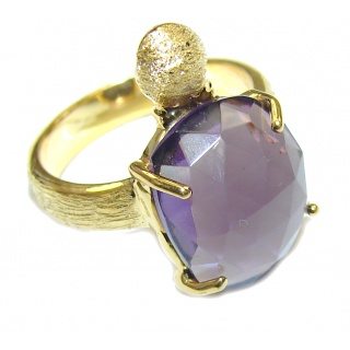 Perfect Purple Quartz 18K Gold Plated Sterling Silver Ring s. 6