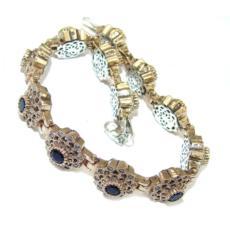 Gorgeous Victorian Style Sapphire, Rose Gold Plated Sterling Silver Bracelet
