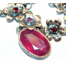 7f20d806b6f09 SilverRushStyle.com - Authentic Ruby Rose Gold Rhodium over .925 Sterling  Silver handmade Statement Necklace