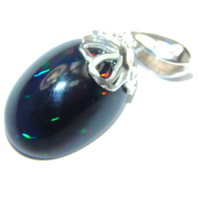Incredible 8.5ctw Authentic Black Opal .925 Sterling Silver handmade Pendant