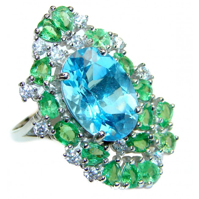 Juliet Genuine Swiss Blue Topaz .925 Sterling Silver handcrafted Statement Ring size 7 3/4