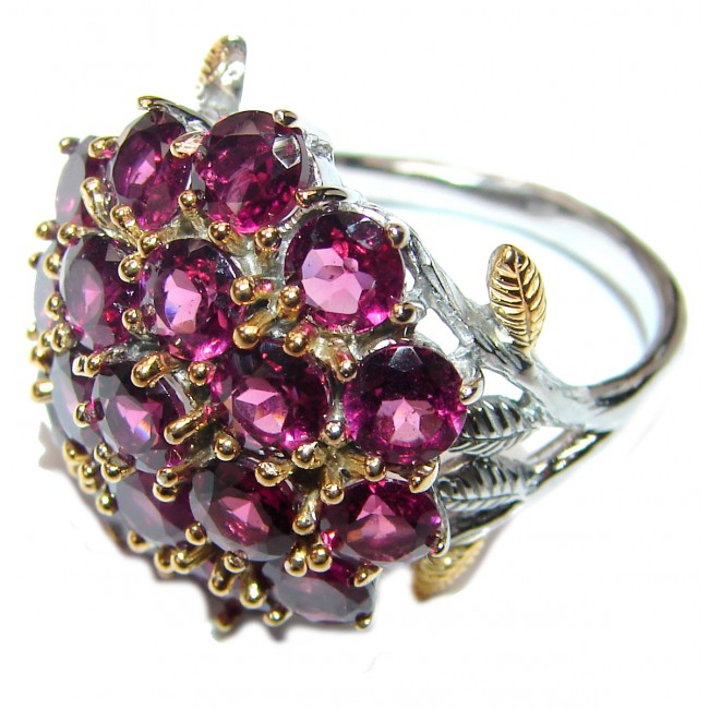 Dazzling natural Red Garnet & .925 Sterling Silver handcrafted ring size 7 1/4