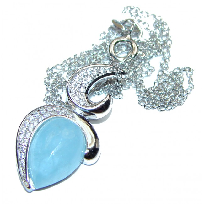 Genuine Aquamarine .925 Sterling Silver handcrafted necklace