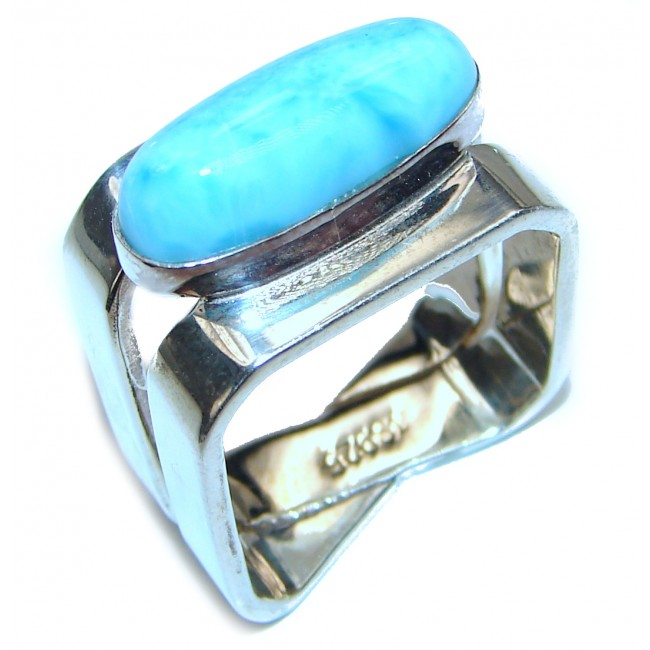 Aqua Natural Dominican Republic Larimar .925 Sterling Silver handcrafted Ring s. 8 3/4