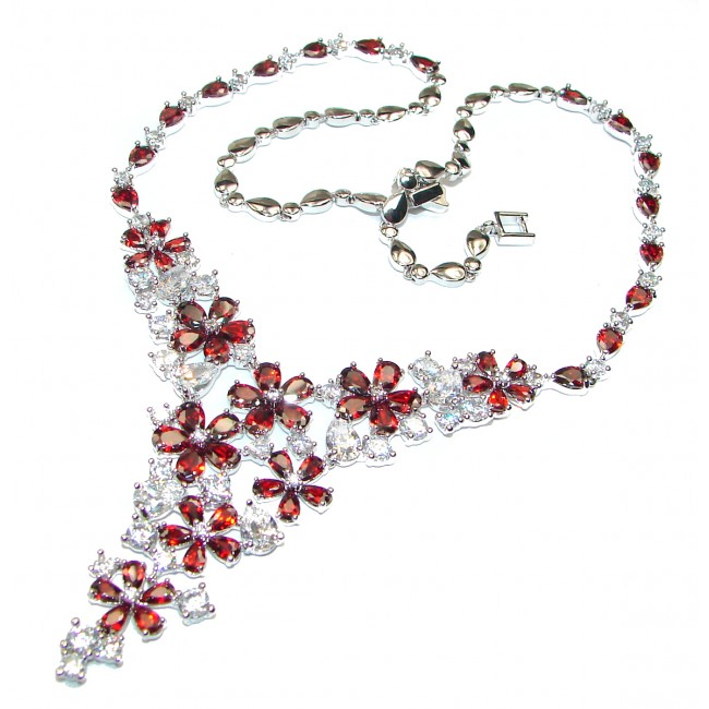 Stunning Red White Topaz .925 Sterling Silver handmade necklace