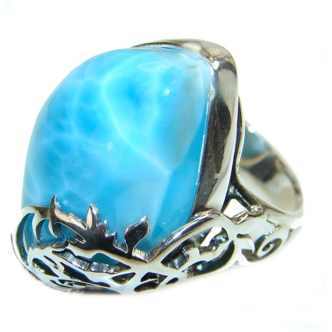 Large Vintage Design Natural Larimar .925 Sterling Silver handcrafted Ring s. 8 adjustable
