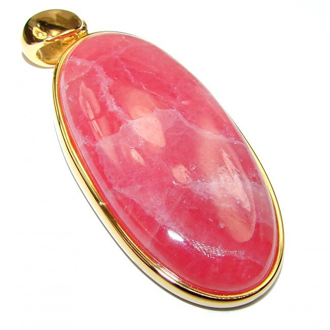 Genuine AAAA+ quality Argentinian Rhodochrosite 14K Gold over .925 Sterling Silver handmade Pendant