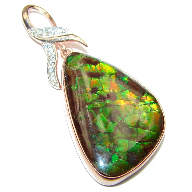 One of the kind genuine Canadian Ammolite 18K rose gold over .925 Sterling Silver handcrafted Pendant