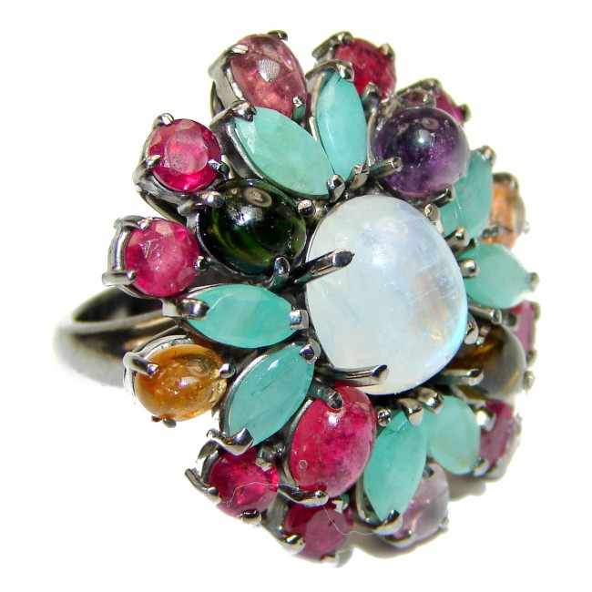 Summer Flower Fire Moonstone rhodium over .925 Sterling Silver handmade ring s. 7