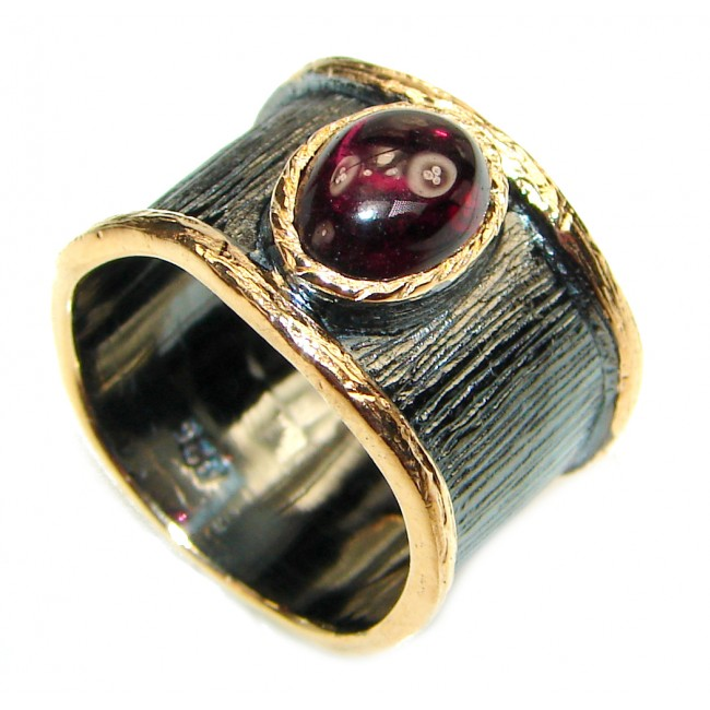 Simple Beauty genuine Garnet black rhodium over .925 Sterling Silver handcrafted Ring size 5 3/4