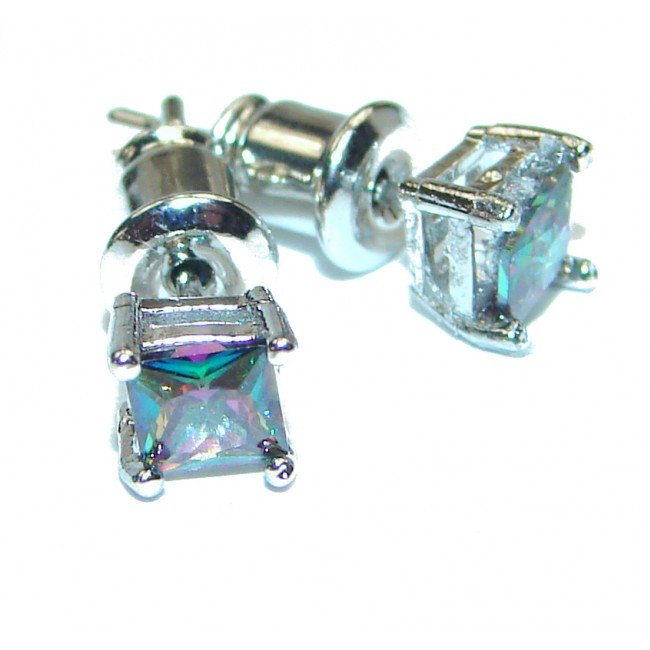 Fabulous Rainbow Magic Topaz .925 Sterling Silver handcrafted stud earrings
