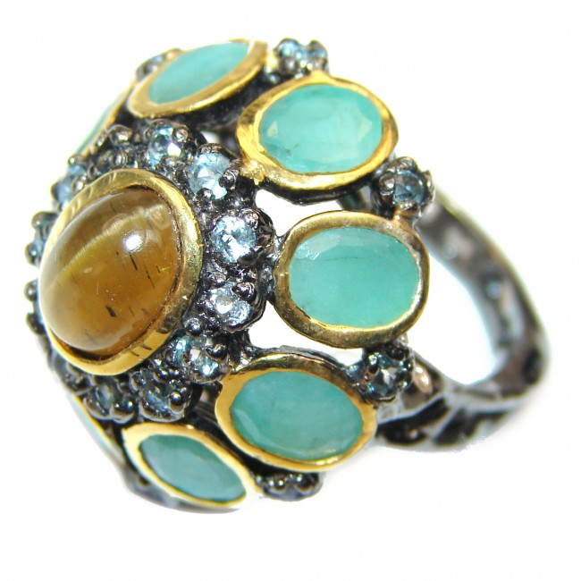 Amazing Golden Sapphire Emerald 18K Gold over .925 Sterling Silver Ring s. 6 1/4