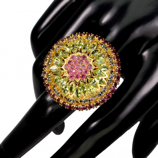 Fiesta Time Authentic Ruby Peridot Sapphire .925 Sterling Silver brilliantly handcrafted HUGE ring s. 8