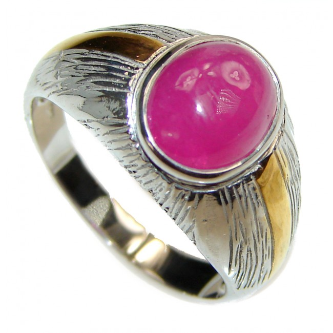 Genuine Ruby .925 Sterling Silver handcrafted Statement Large Ring size 9