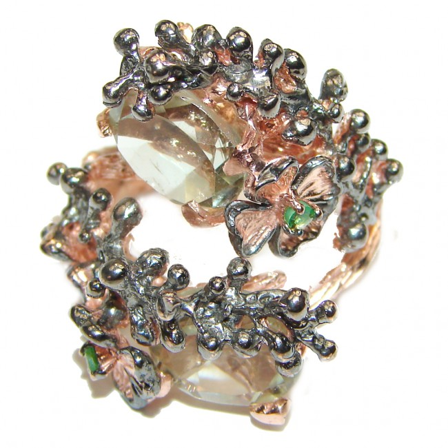Ravishing Green Amethyst .925 Sterling Silver handcrafted Statement Ring size 8 1/4