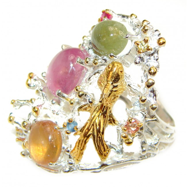Golden Bird Natural Tourmaline .925 Sterling Silver handcrafted Ring s. 7
