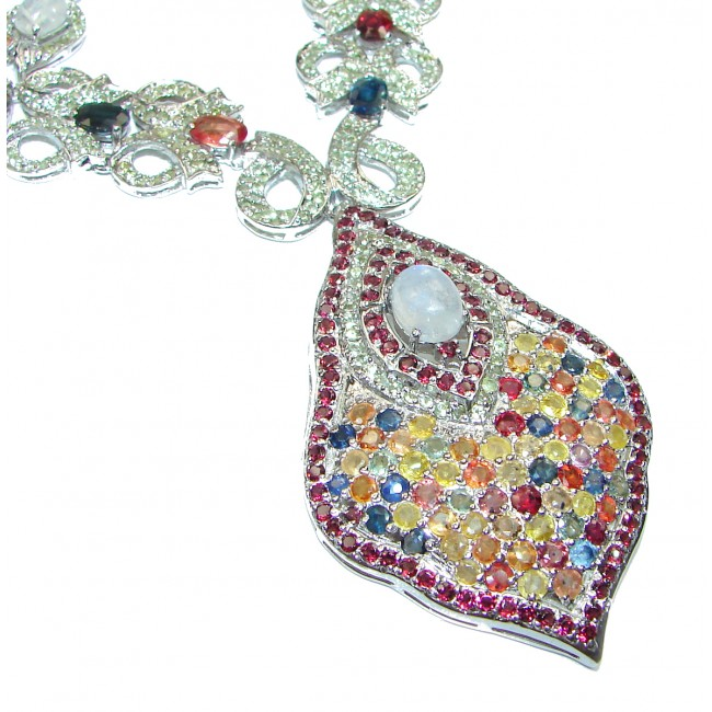 Magnificent Jewel authentic multicolor Sapphire Moonstone .925 Sterling Silver handcrafted necklace