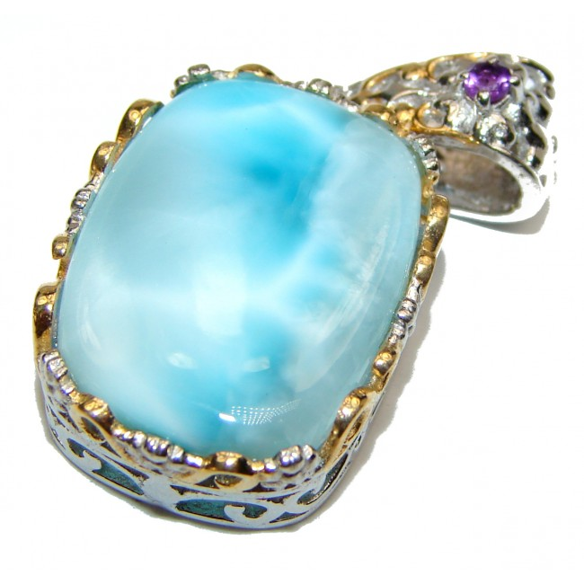 Larimar from Dominican Republic .925 Sterling Silver handmade pendant