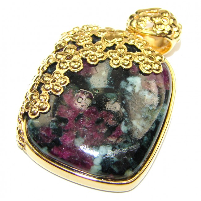 Amazing Ruby in Zoisite 18K Gold over .925 Sterling Silver handmade Pendant